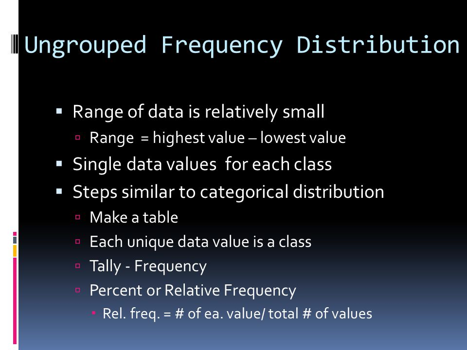 Ungrouped Frequency Distribution  Range of data is relatively small  Range = highest value – lowest value  Single data values for each class  Step