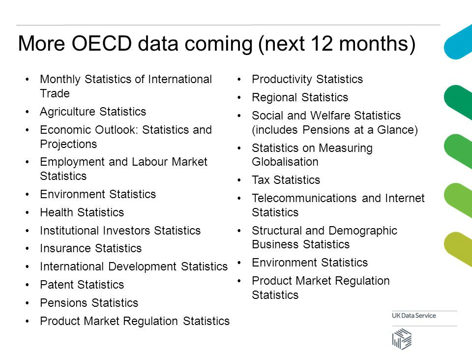 More OECD data coming (next 12 months) Monthly Statistics of International Trade Agriculture Statistics Economic Outlook: Statistics and Projections Employment and Labour Market Statistics Environment Statistics Health Statistics Institutional Investors Statistics Insurance Statistics International Development Statistics Patent Statistics Pensions Statistics Product Market Regulation Statistics Productivity Statistics Regional Statistics Social and Welfare Statistics (includes Pensions at a Glance) Statistics on Measuring Globalisation Tax Statistics Telecommunications and Internet Statistics Structural and Demographic Business Statistics Environment Statistics Product Market Regulation Statistics