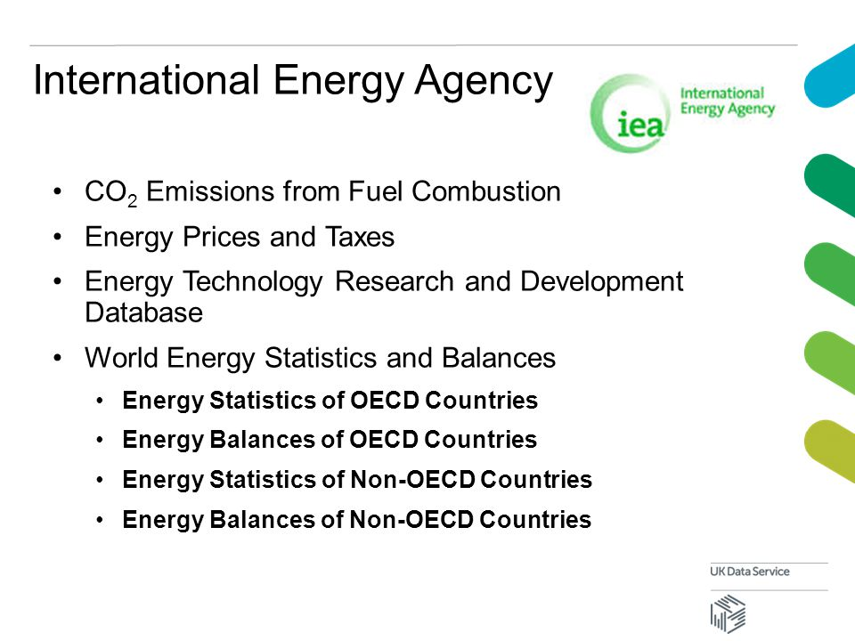 International Energy Agency CO 2 Emissions from Fuel Combustion Energy Prices and Taxes Energy Technology Research and Development Database World Energy Statistics and Balances Energy Statistics of OECD Countries Energy Balances of OECD Countries Energy Statistics of Non-OECD Countries Energy Balances of Non-OECD Countries