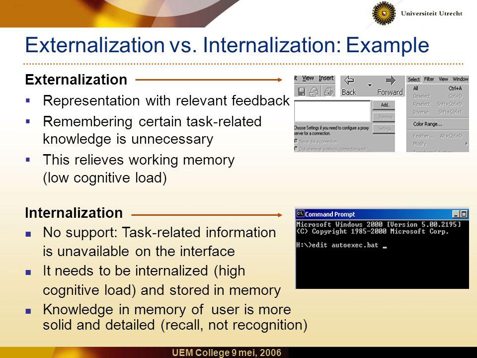 UEM College 9 mei, 2006 Background: Externalization vs.