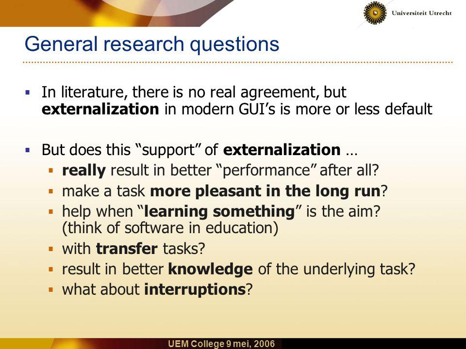 UEM College 9 mei, 2006 Externalization vs. Internalization: Example Externalization  Representation with relevant feedback  Remembering certain tas