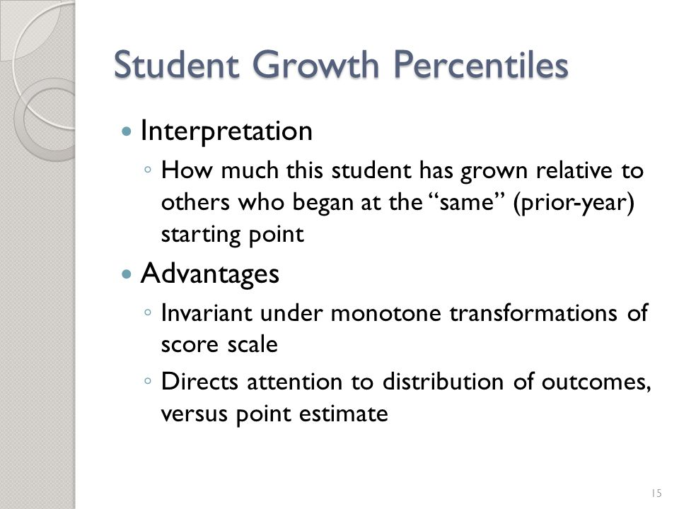 Student Growth Percentiles Interpretation ◦ How much this student has grown relative to others who began at the same (prior-year) starting point Advantages ◦ Invariant under monotone transformations of score scale ◦ Directs attention to distribution of outcomes, versus point estimate 15