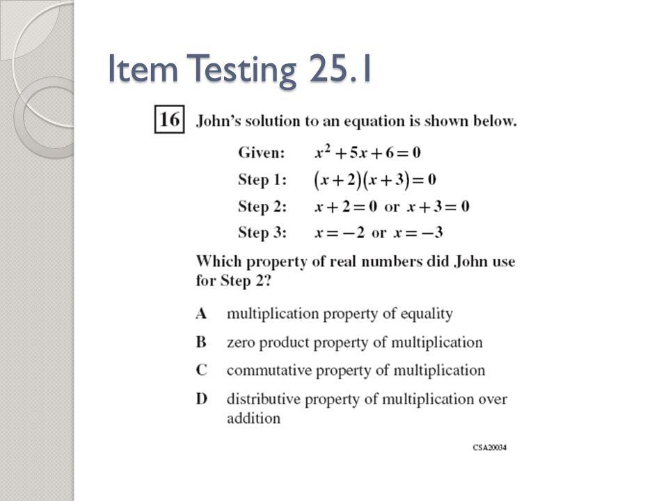 Item Testing 25.1