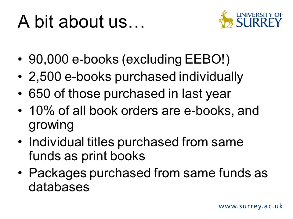 The future for e-books Improve online selection & ordering Improve availability of titles In demand by students- but difficult to use.