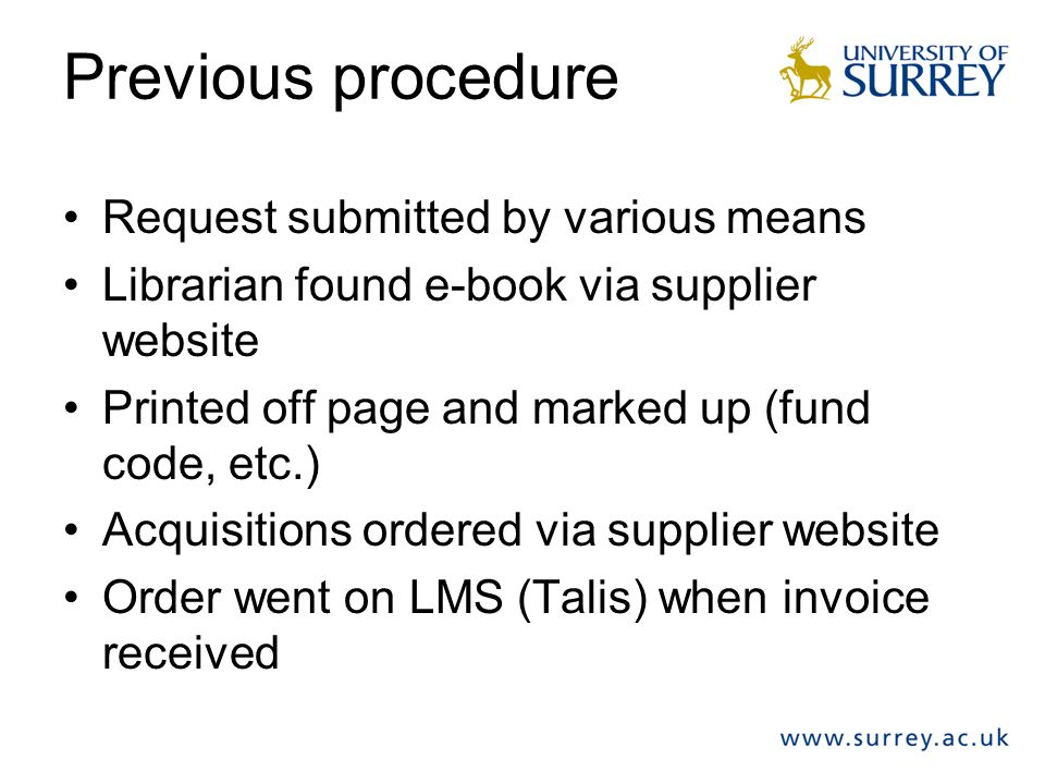 Previous procedure Request submitted by various means Librarian found e-book via supplier website Printed off page and marked up (fund code, etc.) Acq
