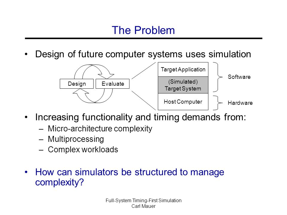 Full-System Timing-First Simulation Carl Mauer Solutions Separates the complexity of functional correctness from timing accuracy + Models multiprocessor timing + Decouples complexity + Leverages existing simulators * Timing-directed discussed in paper Timing-First (This paper) Functional Simulator Timing Simulator  Complete Timing  Partial Function  No Timing  Complete Function Timing and Functional Simulator Integrated (SimOS) - Complex Functional Simulator Timing Simulator Functional-First (Trace-driven) - Timing feedback