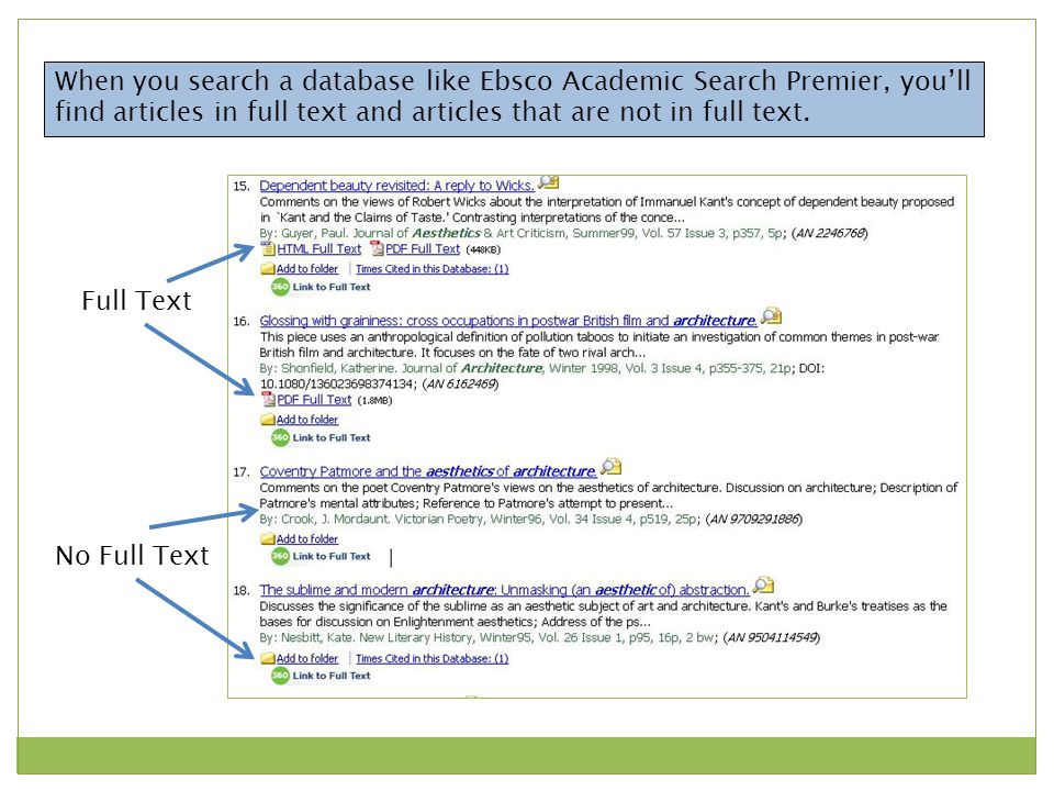 Full Text No Full Text When you search a database like Ebsco Academic Search Premier, you'll find articles in full text and articles that are not in full text.