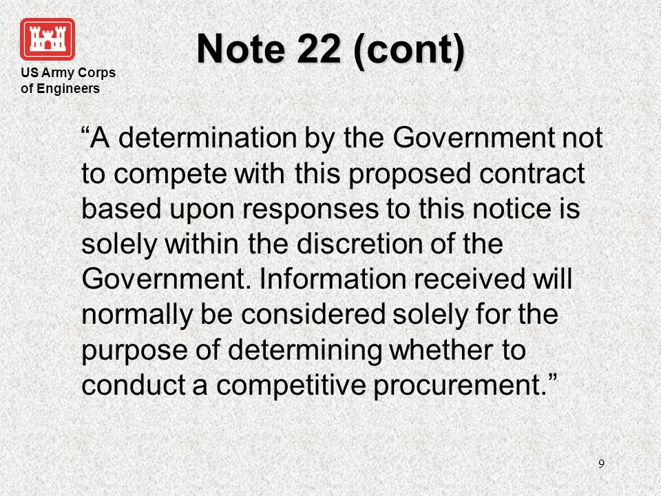 US Army Corps of Engineers 10 J&A Amendment AFARS 5106.303-1-90 -- Requirements for Amended Justifications.