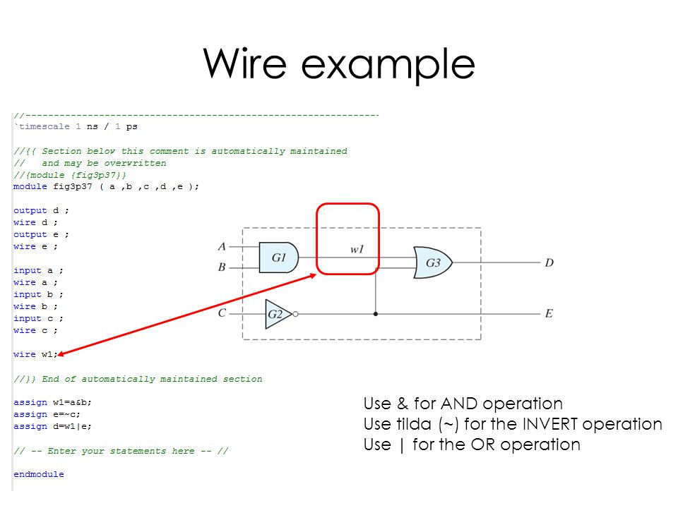 Wire example Use & for AND operation Use tilda (~) for the INVERT operation Use | for the OR operation