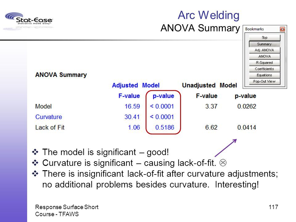 Response Surface Short Course - TFAWS 117 Arc Welding ANOVA Summary  The model is significant – good!  Curvature is significant – causing lack-of-fi