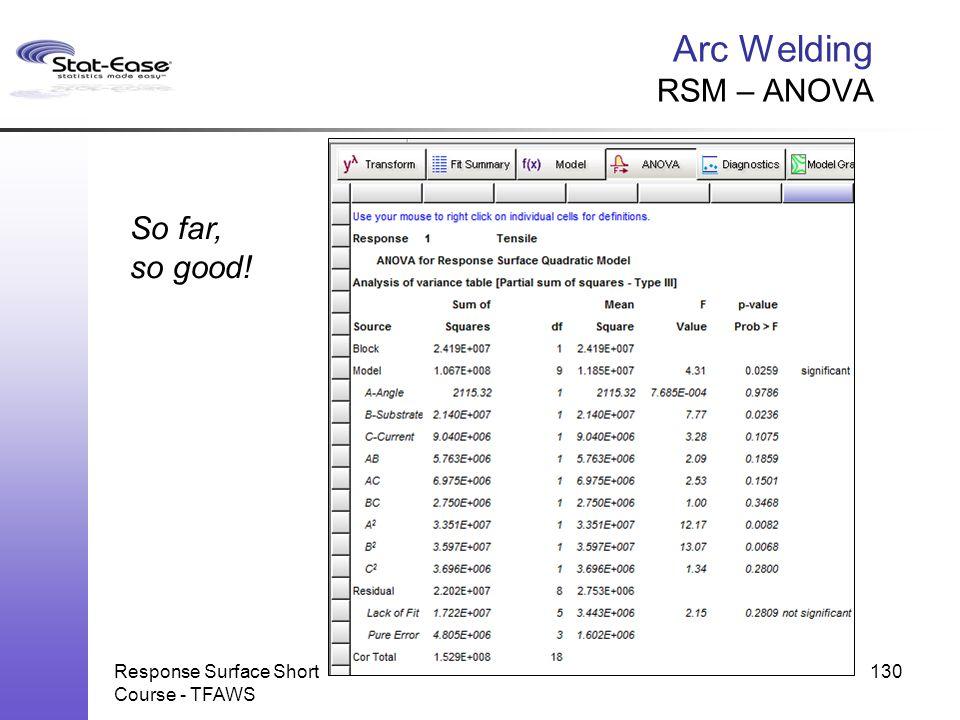 Arc Welding RSM – ANOVA Response Surface Short Course - TFAWS 130 So far, so good!