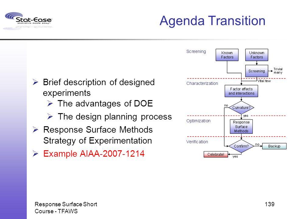 Response Surface Short Course - TFAWS Agenda Transition  Brief description of designed experiments  The advantages of DOE  The design planning proc