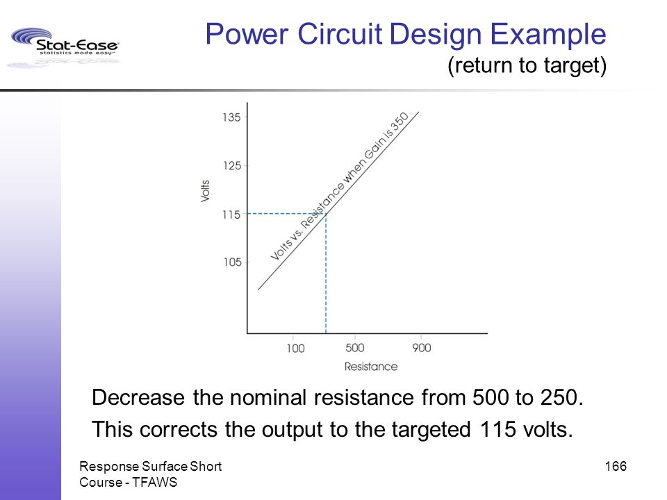 Response Surface Short Course - TFAWS 166 Power Circuit Design Example (return to target) Decrease the nominal resistance from 500 to 250. This correc
