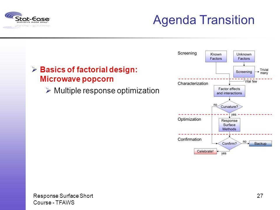 Response Surface Short Course - TFAWS Agenda Transition  Basics of factorial design: Microwave popcorn  Multiple response optimization 27