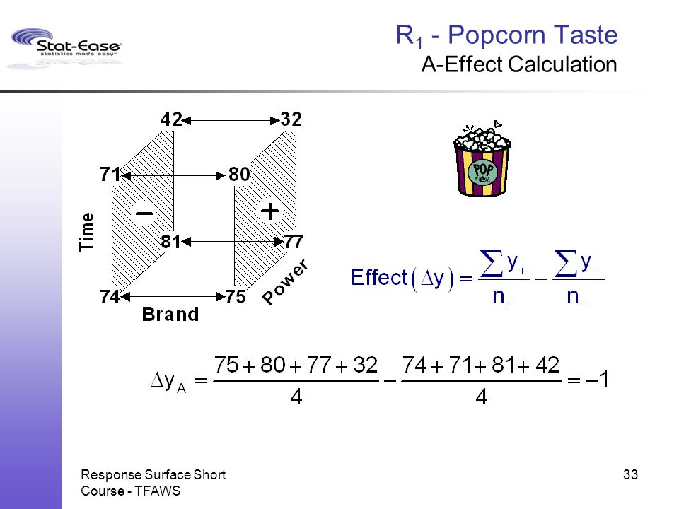 Response Surface Short Course - TFAWS 33 R 1 - Popcorn Taste A-Effect Calculation