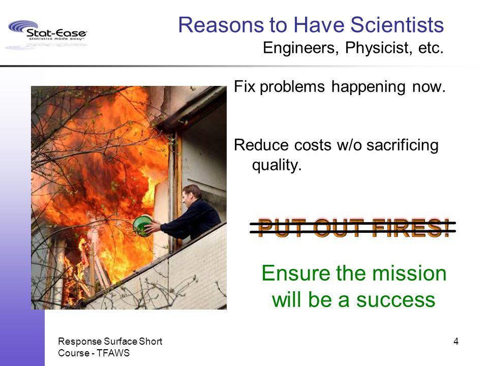 Response Surface Short Course - TFAWS 25 Relative Efficiency DOE vs.