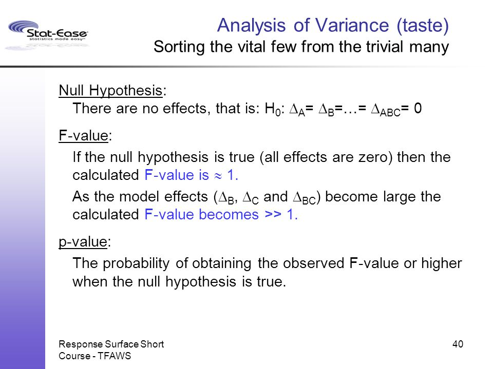Analysis of Variance (taste) Sorting the vital few from the trivial many Null Hypothesis: There are no effects, that is: H 0 :  A =  B =…=  ABC = 0