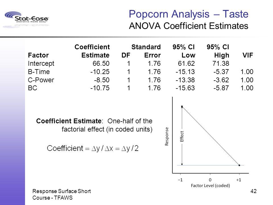 Response Surface Short Course - TFAWS Popcorn Analysis – Taste ANOVA Coefficient Estimates CoefficientStandard95% CI95% CI FactorEstimateDFErrorLowHig