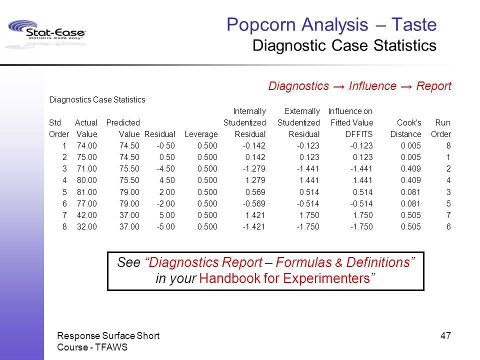 Response Surface Short Course - TFAWS Popcorn Analysis – Taste Diagnostic Case Statistics Diagnostics → Influence → Report Diagnostics Case Statistics
