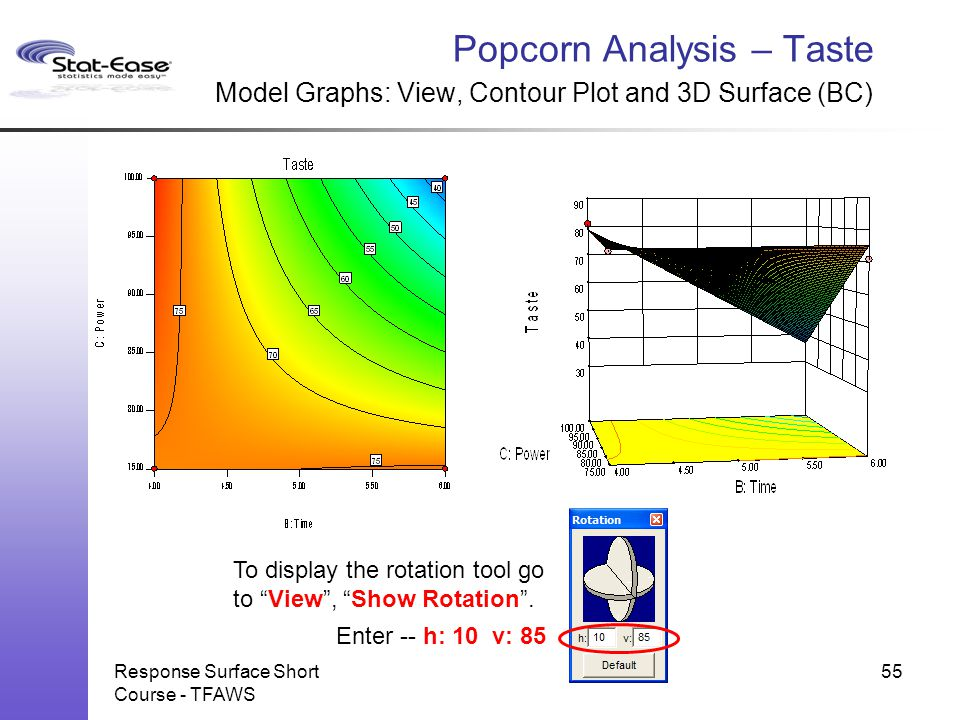 Response Surface Short Course - TFAWS Popcorn Analysis – Taste Model Graphs: View, Contour Plot and 3D Surface (BC) 55 To display the rotation tool go