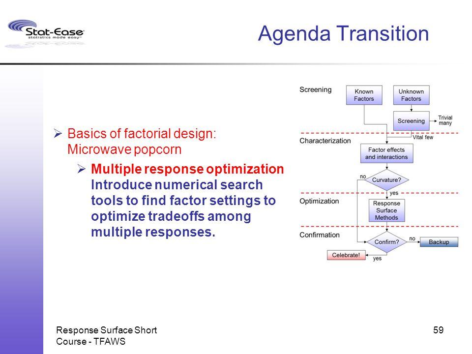 Response Surface Short Course - TFAWS Agenda Transition  Basics of factorial design: Microwave popcorn  Multiple response optimization Introduce num