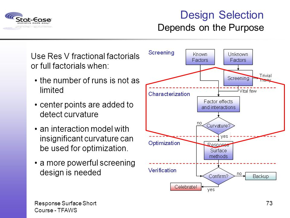 Response Surface Short Course - TFAWS 73 Design Selection Depends on the Purpose Use Res V fractional factorials or full factorials when: the number o