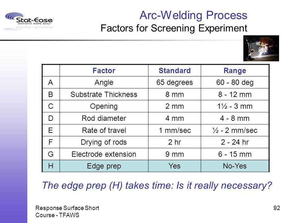 Response Surface Short Course - TFAWS 92 FactorStandardRange AAngle65 degrees60 - 80 deg BSubstrate Thickness8 mm8 - 12 mm COpening2 mm1½ - 3 mm DRod