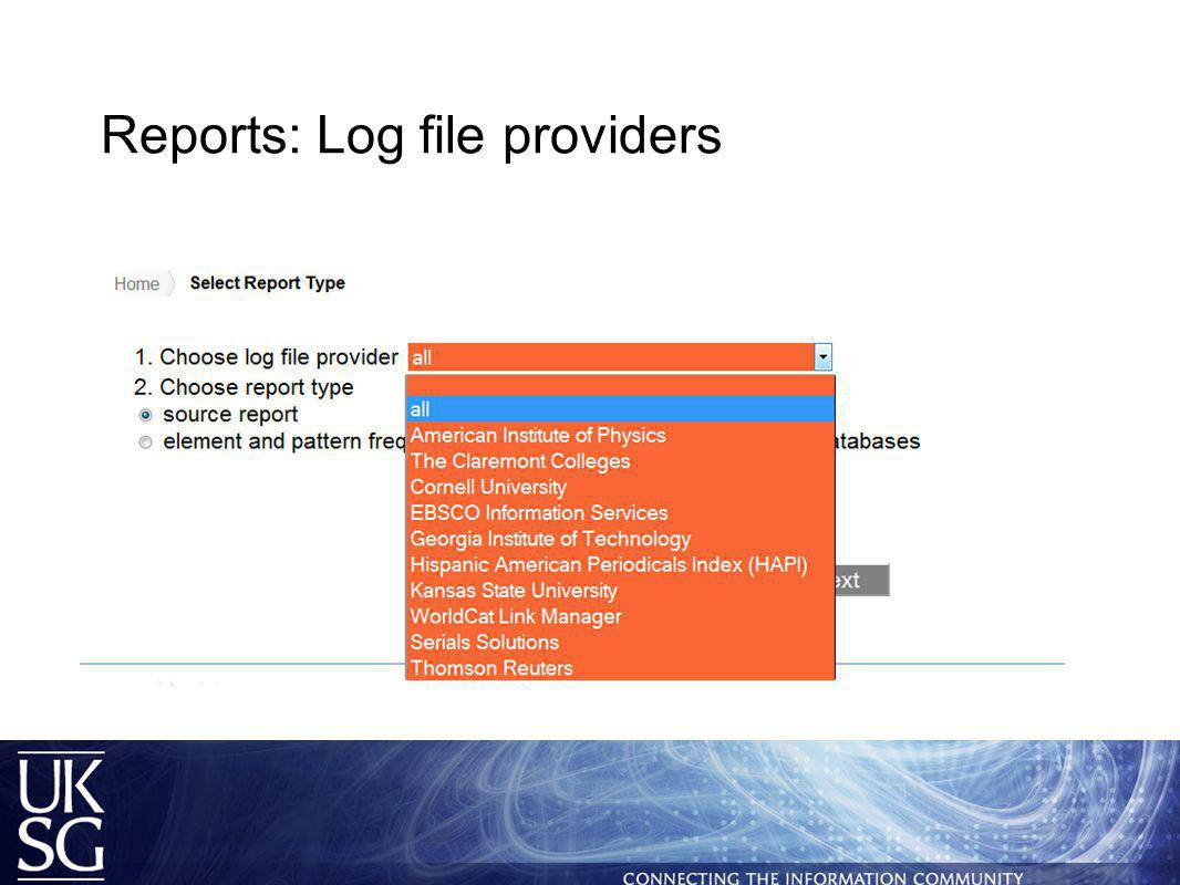 Reports: Log file providers