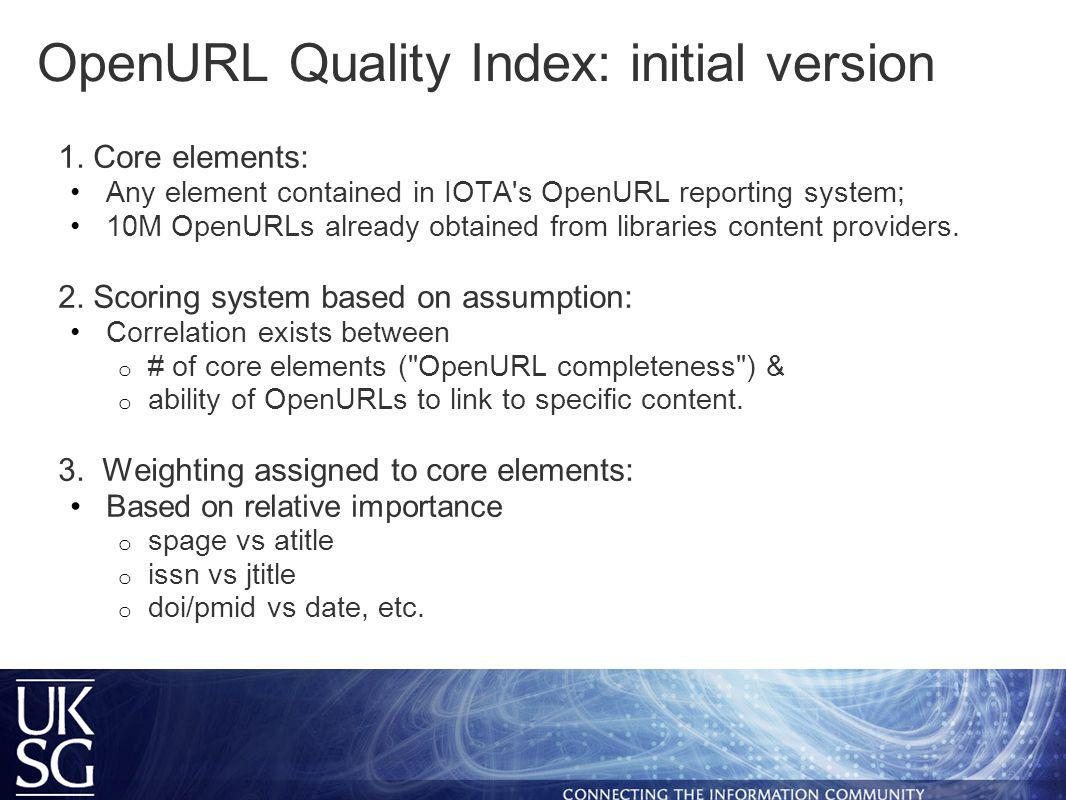 OpenURL Quality Index: initial version 1.