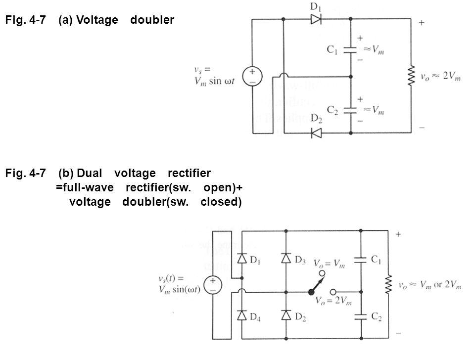 Fig. 4-7 (a) Voltage doubler Fig. 4-7 (b) Dual voltage rectifier =full-wave rectifier(sw. open)+ voltage doubler(sw. closed)