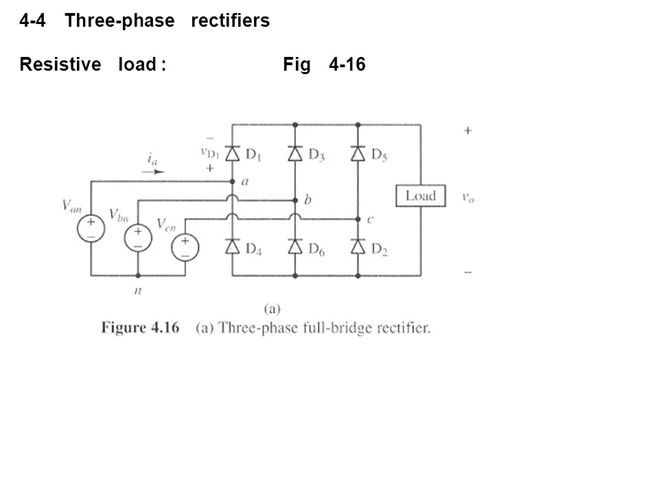 4-4 Three-phase rectifiers Resistive load :Fig 4-16