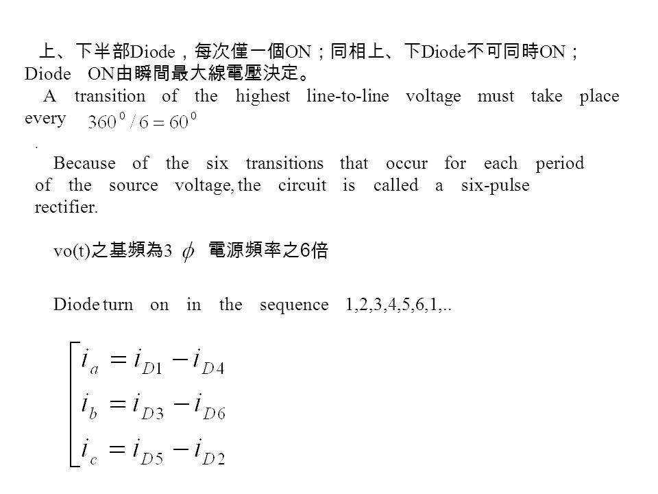上、下半部 Diode ,每次僅一個 ON ;同相上、下 Diode 不可同時 ON ; Diode ON 由瞬間最大線電壓決定。 A transition of the highest line-to-line voltage must take place every. Because of t