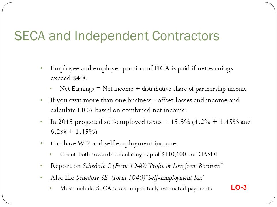 Calculating FICA with W-2 and Self-Employed Earnings Facts: Celia's W-2 = $117,768 and her self-employment income = $14,500; how much is her FICA on $14,500.