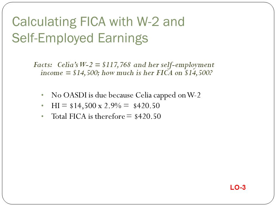 Calculating FICA with W-2 and Self-Employed Earnings Facts: Celia's W-2 = $117,768 and her self-employment income = $14,500; how much is her FICA on $