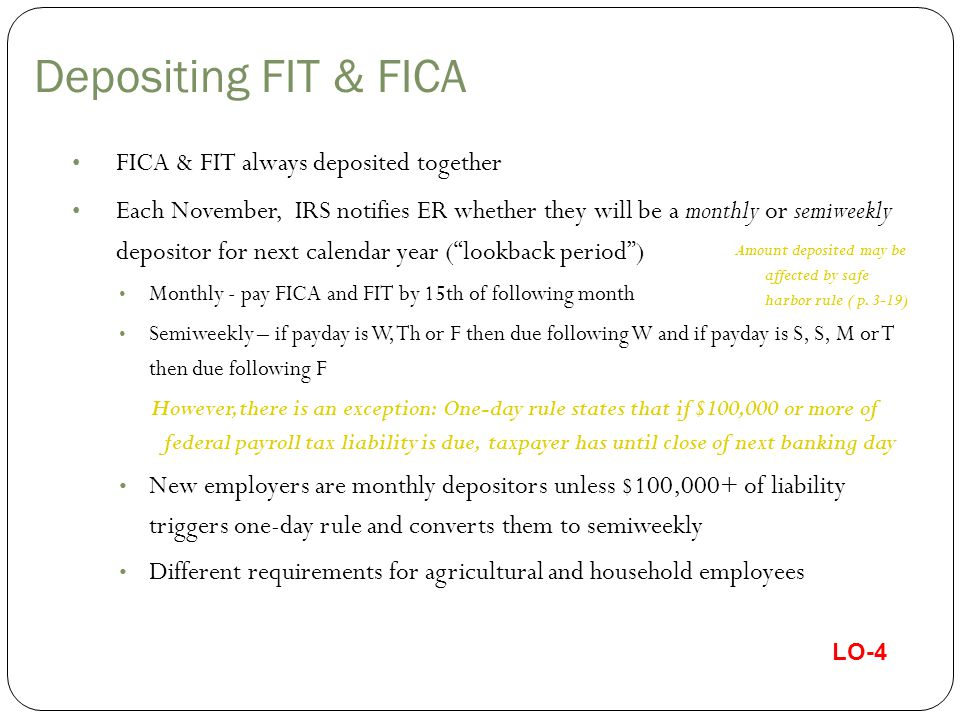 Depositing FIT & FICA FICA & FIT always deposited together Each November, IRS notifies ER whether they will be a monthly or semiweekly depositor for n