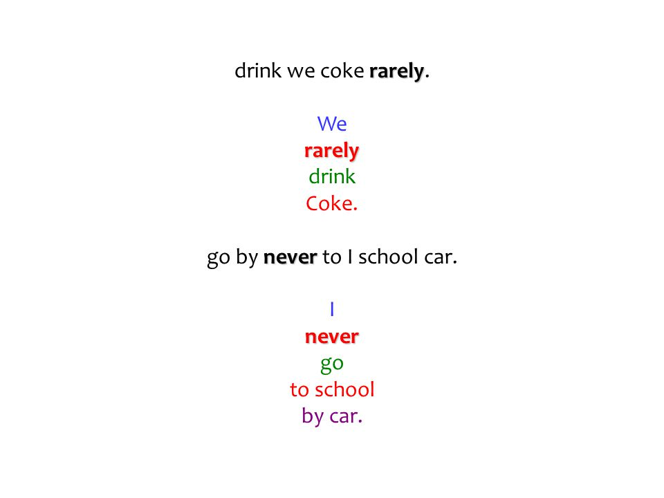 drink we coke r rr rarely. We rarely drink Coke. go by n nn never to I school car. I never go to school by car.