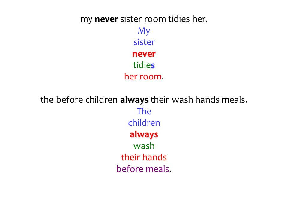 my n nn never sister room tidies her. My sister never tidies her room. the before children a aa always their wash hands meals. The children always was