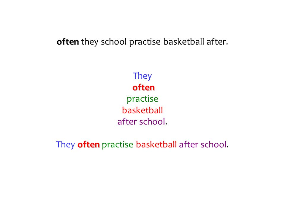 often often they school practise basketball after. They often practise basketball after school. often They often practise basketball after school.