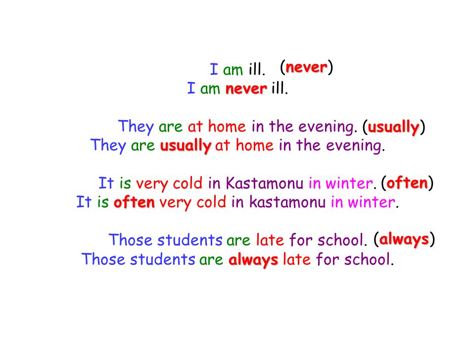 I am ill. I am n nn never ill. They are at home in the evening. They are u uu usually at home in the evening. It is very cold in Kastamonu in winter.