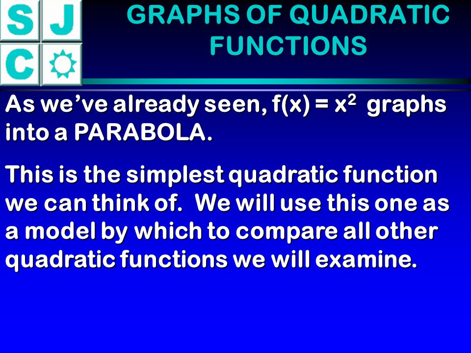 GRAPHS OF QUADRATIC FUNCTIONS Axis of Symmetry The vertical line about which the graph of a quadratic function is symmetric.