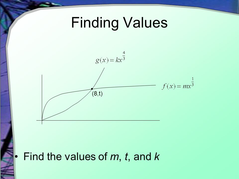 Finding Values Find the values of m, t, and k  (8,t)
