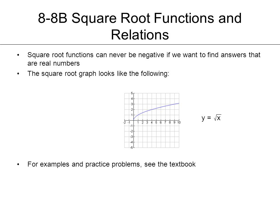 8-8B Square Root Functions and Relations Square root functions can never be negative if we want to find answers that are real numbers The square root