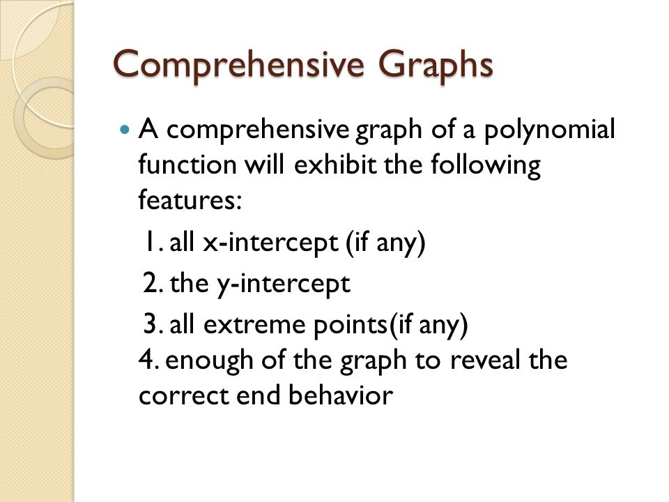 Comprehensive Graphs A comprehensive graph of a polynomial function will exhibit the following features: 1.