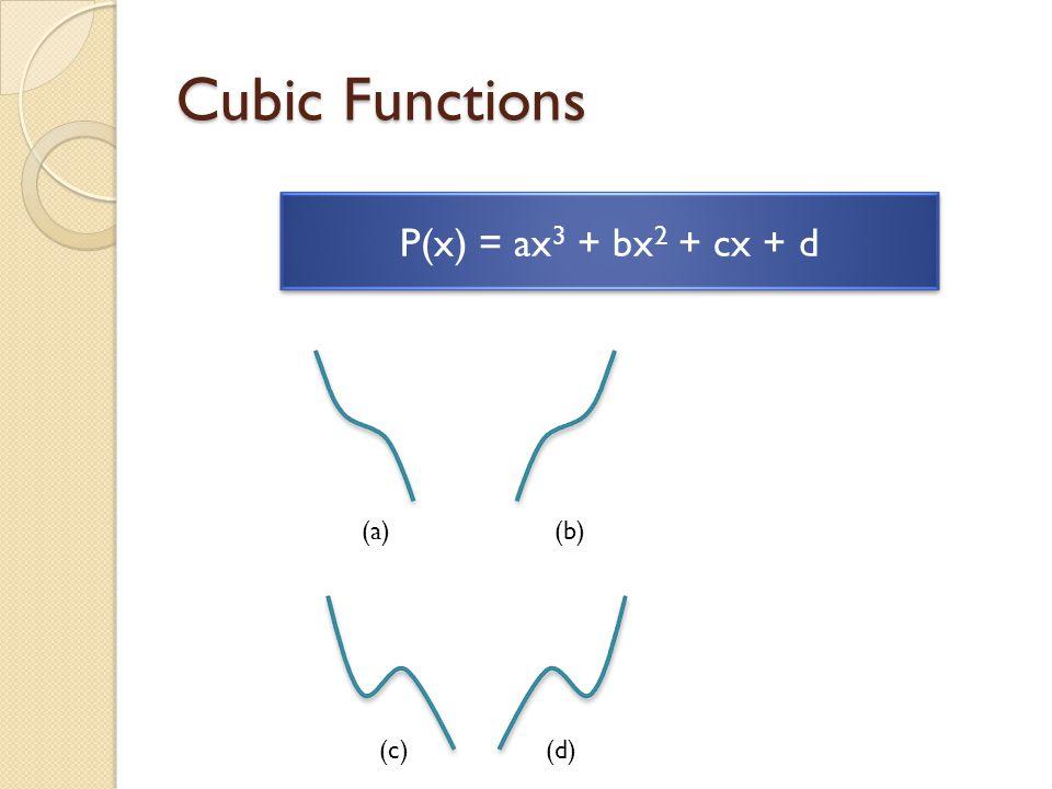 Cubic Functions P(x) = ax 3 + bx 2 + cx + d (b)(a) (d)(c)