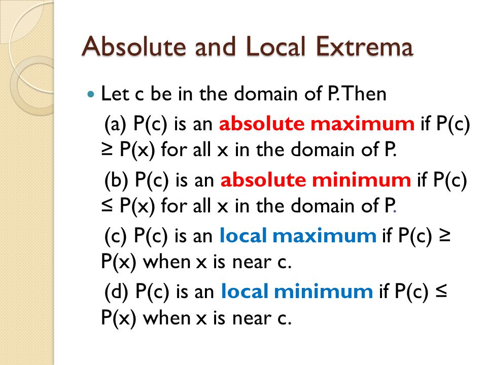 Absolute and Local Extrema Let c be in the domain of P.