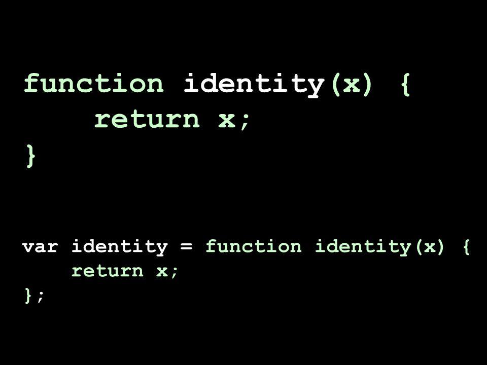 function identity(x) { return x; } var identity = function identity(x) { return x; };