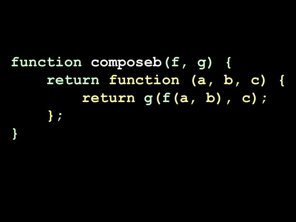 function composeb(f, g) { return function (a, b, c) { return g(f(a, b), c); }; }