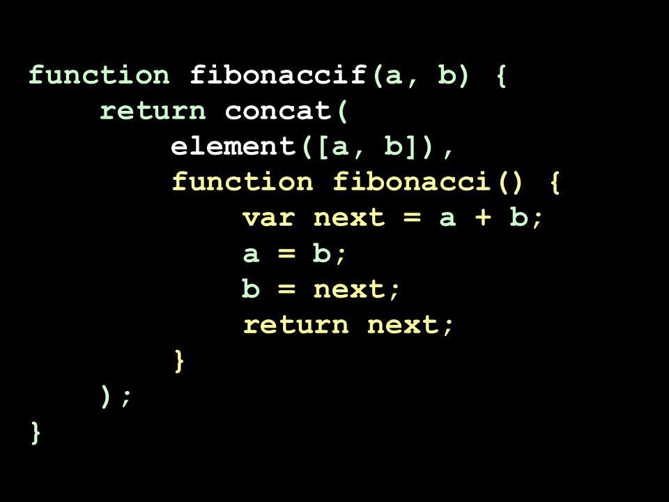 function fibonaccif(a, b) { return concat( element([a, b]), function fibonacci() { var next = a + b; a = b; b = next; return next; } ); }