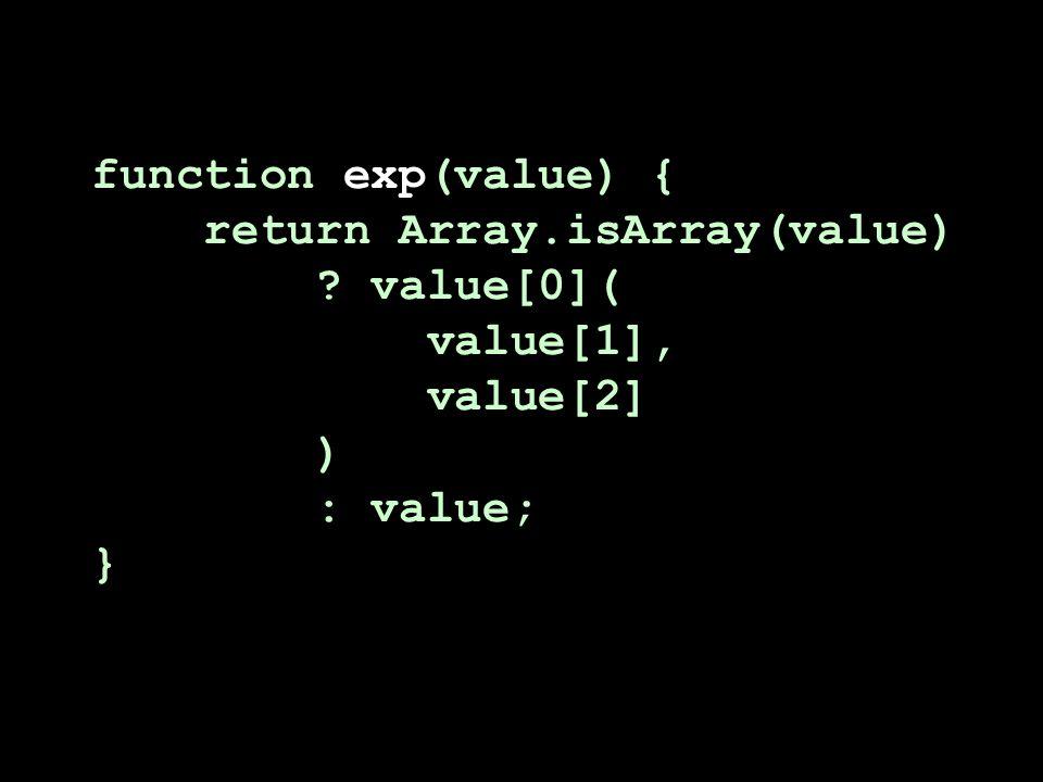 function exp(value) { return Array.isArray(value) value[0]( value[1], value[2] ) : value; }