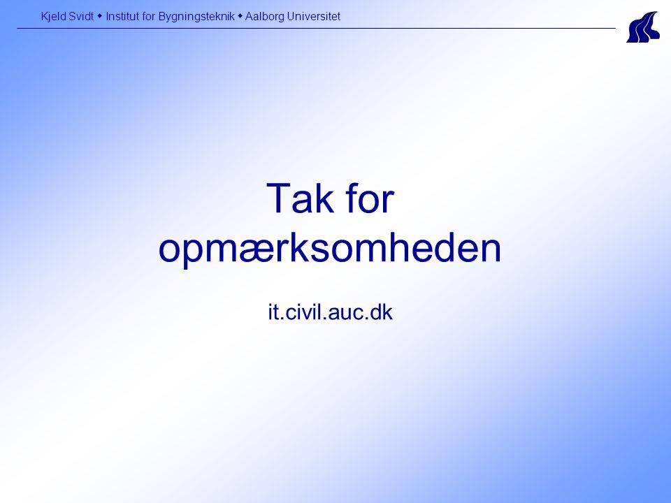 Tak for opmærksomheden it.civil.auc.dk Kjeld Svidt  Institut for Bygningsteknik  Aalborg Universitet